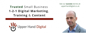 UHD banner - trusted, small business 1-2-1 digital marketing, training and content